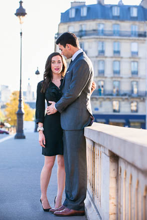 Couple in Front of Haussmann Building in Paris