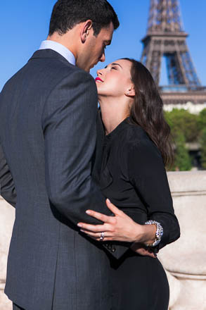 Couple About to Kiss with Eiffel Tower in Background
