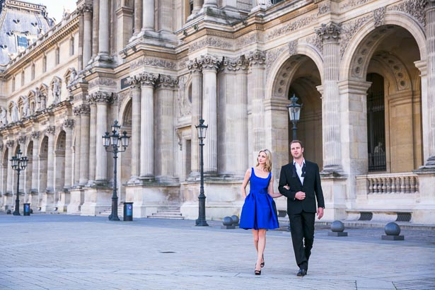 Couple Walking in Louvre Courtyard