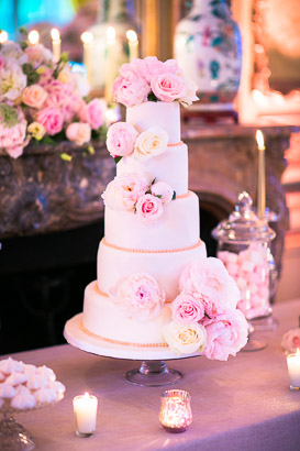 Flowered Pink Wedding Cake