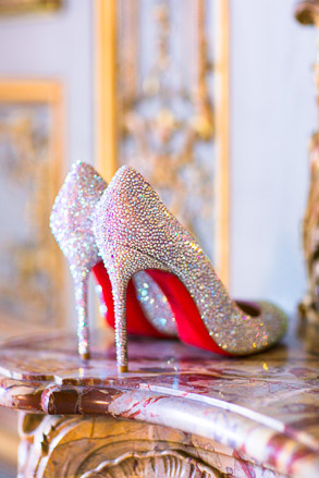 Louboutin Wedding Shoes Displayed on Mantel